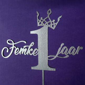 Taarttopper met tiara, naam en leeftijd in zilver