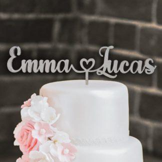 huwelijk cake topper naam hartje naam