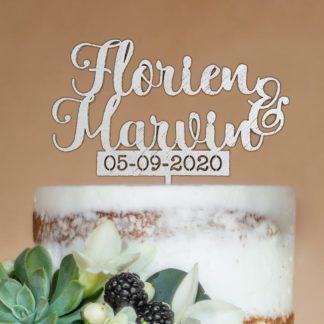 taart topper voor huwelijk, voorzien van namen en datum