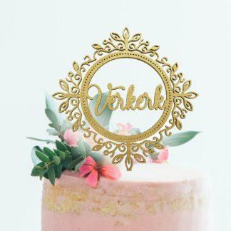 klassieke krans taarttopper met familienaam