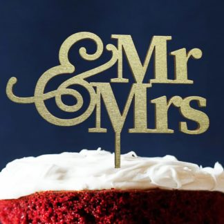 taarttopper van hout: Mr & Mrs