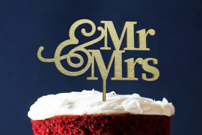 taarttopper van hout: Mr & Mrs