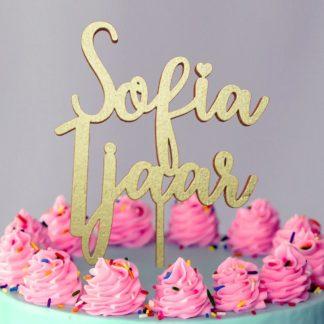 Gouden taarttopper met Sofia 1 jaar