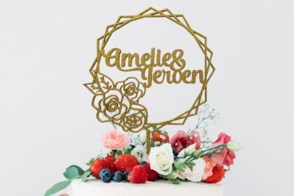 taarttopper bloemenkrans voor huwelijk
